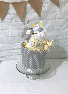 Elephant diaper cake Yellow and gray baby shower Yellow and gray diaper cake Gender neutral diaper cake Yellow and gray shower centerpiece