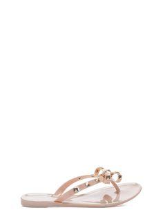 Bow My Studded Jelly Thong Sandals BLACK WHITE NUDE - GoJane.com