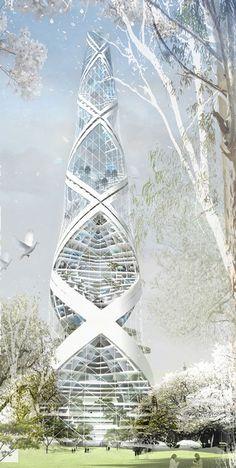 Torre Espiral, Berlín, Alemania diseñada por Philipp von Bock Arquitecto. Propuesta de creación de energía neta cero.