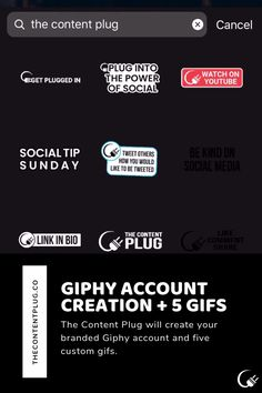 The Content Plug will create your branded Giphy account and five custom gifs. Plugs, Accounting, Gifs, Texas, Social Media, Content, Create, Youtube, Products