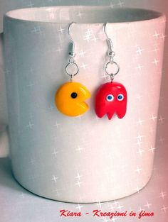 Orecchini in #fimo handmade Pac-Man kawaii miniature idee regalo amica , by Chiara - Creazioni in fimo, 5,00 € su misshobby.com