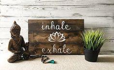 Yoga quotes wall art / Inhale exhale / Yoga studio decor / #ad