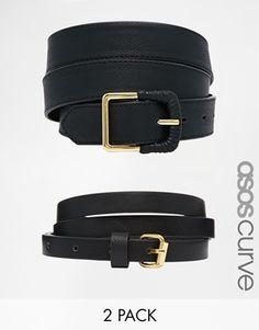 ASOS CURVE 2 Pack Skinny Waist Belt And Jeans Belt