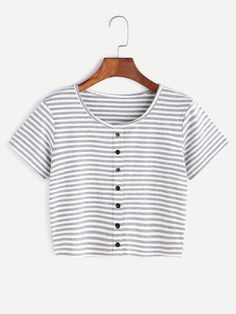 Shop Contrast Striped Crop T-shirt With Buttons online. ROMWE offers Contrast Striped Crop T-shirt With Buttons & more to fit your fashionable needs. Cute Casual Outfits, Summer Outfits, Women's Casual, Stylish Outfits, T Shirt Crop Top, Teenage Outfits, Cute Crop Tops, Cropped Tops, Striped Crop Top