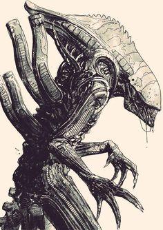 """""""""""Big Ugly"""" from Aliens: Defiance (now also a figure from commission piece. Alien Film, Alien Art, Alien Vs Predator, Giger Alien, Hr Giger, Alien Drawings, Alien Concept Art, Aliens Movie, Scary Art"""