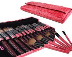 Bundle Monster 15pc Studio Pro Makeup Make Up Cosmetic Brush Set Kit w/ Pink Faux Crocodile Case - For Eye Shadow, Blush, Eyeliner, Etc. $17.49