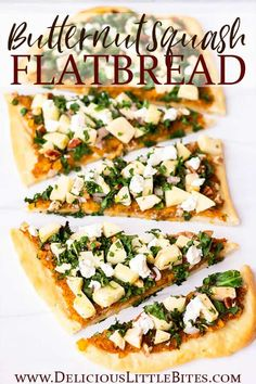 Fall's best flavors come together in this delicious recipe for Butternut Squash Flatbread. The base is a butternut squash puree with warm cinnamon and sweet maple syrup. It's topped with apples, pecans, shallots, and kale. This flatbread can be served as an appetizer or as the main dish. | #flatbread #flatbreadpizza #butternutsquash #pizza #fallrecipes