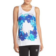 adidas by Stella McCartney 'Essentials' Floral Print Cotton Tank (91 NZD) ❤ liked on Polyvore featuring tops, white, floral tank top, white cotton tank top, adidas tank, seamless tank top and scoop neck tank
