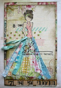LOVE these Prima mixed media girl stamps by Julie Nutting!  Very easy to create with!