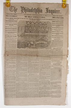April 1865 Abraham Lincoln Assassination Newspaper of the Philadelphia Inquirer.