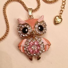 """BJ Pink Owl Pendant & Necklace Betsey Johnson Pink Owl Pendant 2"""" long. Necklace 27"""" long. Betsey Johnson Jewelry Necklaces"""