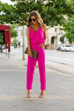 bright pink jumpsuit outfit