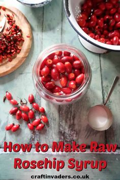 Raw rosehip syrup is a no-cook rosehip syrup recipe that uses sugar to draw the juice from the fruit resulting in a thick, delicious syrup. Gin Recipes, Fall Recipes, Cooking Recipes, Vegetarian Recipes, Rosehip Syrup, Rosehip Recipes, Cordial Recipe, Vegetable Crisps, Crisp Recipe