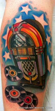 jukebox tattoo done by Nick Minervine from Tattoos Forever in Fort Walton Beach, Florida call (850) 244-5117 for an appointment.   www.facebook.com/tattoosforever1