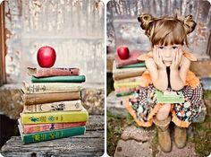 Back to school. I love the way they dressed this little girl. Hair and everythin… – girl photoshoot poses Back To School Pictures, School Photos, Fall Photos, Cute Photos, Photography Props, Children Photography, Preschool Photography, Fall Photography, Illustration Photo