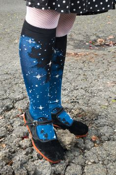 Rhinestone Starlight Knee Highs from K. Bell Socks - have you ever seen a more magical sock? Those little shine marks have actual rhinestones at their centers!