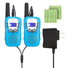 Kids Walkie Talkies with Rechargeable Battery , 22 Channel FRS/GMRS Two Way Radio Up to3KM UHF Handheld Walkie Talkies for Children (1 Pair) (Blue). For product info go to:  https://all4hiking.com/products/kids-walkie-talkies-with-rechargeable-battery-22-channel-frsgmrs-two-way-radio-up-to3km-uhf-handheld-walkie-talkies-for-children-1-pair-blue/