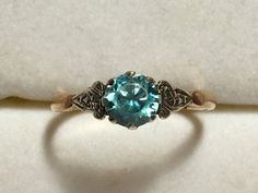Vintage Blue Topaz Ring in 9k Gold Filigree Setting. Unique Engagement Ring. Estate Jewelry. December Birthstone. 4th Anniversary Gift.