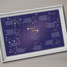 Wedding seating chart. Constellation theme. Table order.. €45.00, via Etsy.