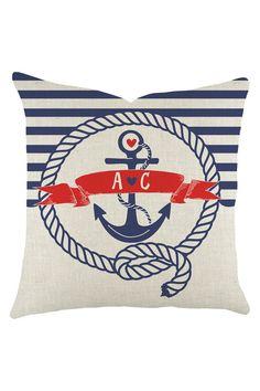 Love Initials Nautical Pillow