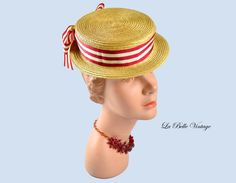 1940s Boater Hat ~ Vintage Red Striped Grosgrain Ribbon Skimmer ~ New York Creation by labellevintage on Etsy