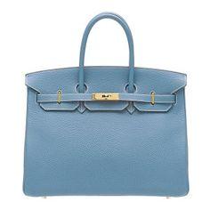 Hermes Birkin bag 35 Blue jean Togo leather Gold hardware