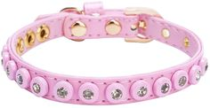 Pink Leather Dog Collar and Leash Diamond Studded ** Click on the image for additional details. (This is an affiliate link) #CatCollarsHarnessesandLeashes