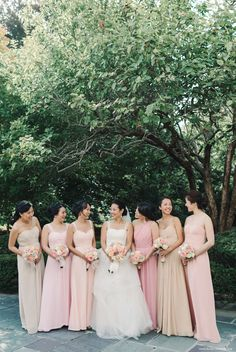 Blush and peach bridesmaids | New Jersey Wedding Photographer by Michelle Lange Photography