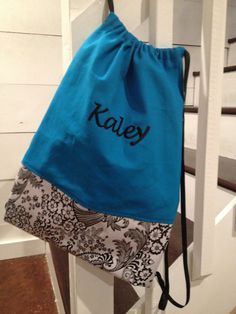 Great gift for the teen or tween girl in your life!    Personalized and Monogrammed Aqua and Black and White Floral Toile Cinch Sack - Drawstring Bag - Back Pack for girls. $26.00, via Etsy.