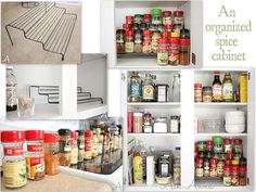 To help with organizing kitchen cabinets, Anna describes how to organize your spices, your tupperware, and all your kid stuff in the kitchen Kitchen Cupboard Organization, Clean Kitchen Cabinets, Spice Organization, Spice Storage, Household Organization, Be Organized, Home Modern, Küchen Design, Design Ideas