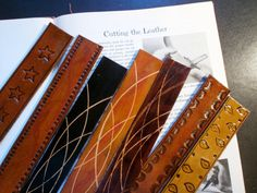 Items similar to leather bookmark on Etsy Leather Accessories, Leather Jewelry, Leather Bag, Leather Diy Crafts, Handmade Leather, Leather Tooling Patterns, Leather Scraps, Leather Carving, Book Making