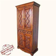 Rustic Wood 2 Storage Drawers Cupboard Wardrobe Armoire