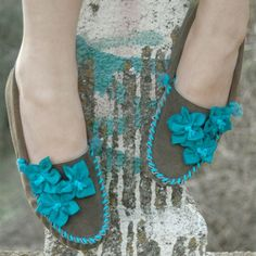 suede moccasins: aqua tiger lily - Unique, versatile and comfortable suede moccasins - embellished with colorful and unique designs. Perfect for fall and winter fashions, but truthfully - they look great with summer gear, too!* Returns not accepted: this item is custom-made once your order is received.