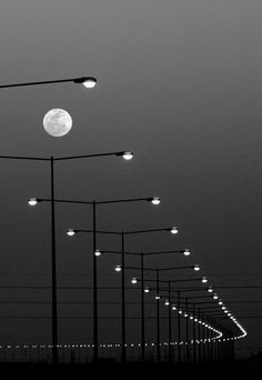 Streetlights and Moon Urban Landscape Photography The Full Moon Lunar La Lune A Visible Moon in The Night Sky Late Evening Time Black White Photo BW BW BW Monoch. Line Photography, Creative Photography, Landscape Photography, Urban Photography, White Aesthetic Photography, Night Street Photography, Moonlight Photography, Photography Timeline, Magical Photography