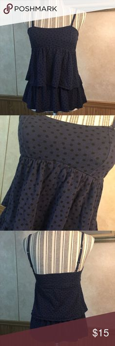 American Eagle tank Blue with black polka dots tank. The straps are adjustable and removable. The tag is cut out, but fits like a small. Has built in bra cups. American Eagle Outfitters Tops Tank Tops