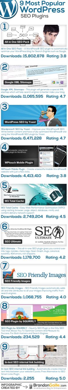A breakdown of the 9 most popular WordPress SEO plugins.  The infographic ranks them by most downloaded an includes the user rating for each plugin.