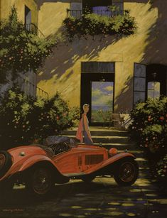 "Barry Rowe – New Masters Gallery ""Alfa's Jewel"" 40 x 30 Car Illustration, Car Drawings, Pretty Photos, Automotive Art, Car Painting, Retro Art, Art Cars, Motor Car, Illustrations Posters"