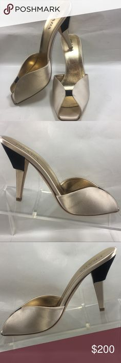 Prada Calzature Donna Raso Bicolore Size 37.5/7.5 Excellent Like New Condition Some Normal Wear See Pictures. Prada Calzature Donna Raso Bicolore Made In Italy Color Sabbia ( Metallic Cream & Gold) Heels ( 3 inch) Size 37.5/7.5 Shoe #S249 Prada Shoes Heels