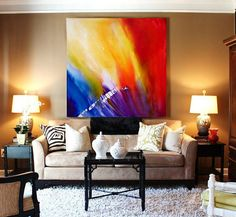 Large Original Bright Abstract Acrylic Painting Interior Design Wall Art Blue Red Fluid Nebula Primary Colors Poured