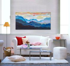 Original art Abstract Painting large Oil Painting, blue mountain skyline Landscape Painting Rising Sun by tim lam 48x24x1.3. $339.00, via Etsy.