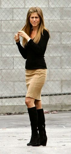 tan pencil skirt - black boots. And the hair is pretty cute too! #spring #jewelry #outfits