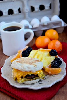Sausage Egg and Cheese Muffin: Golden brown pork sausage patties, scrambled eggs and melted cheese on top of a toasted Thomas' English Muffin. These quality ingredients make this Copycat recipe taste better than the original thanks to Iowa Girl Eats.