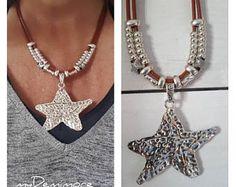 collar de cuero colgante estrella de mar grande, colgante del collar declaración, boho, cuero de mujer gitana