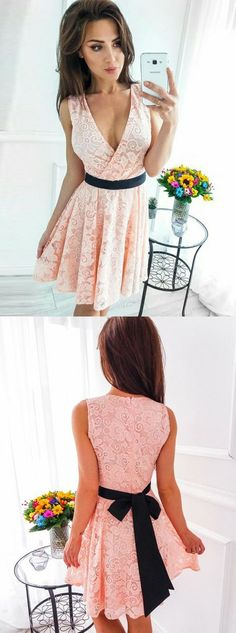 A-Line V-Neck Short Pink Lace Homecoming Dress with Sash M4152