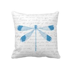 Glitter Dragonfly Throw Pillow