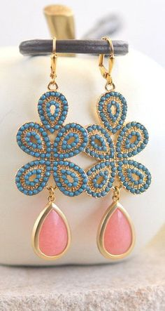 Turquoise and Coral Pink Statement Earrings in Gold.