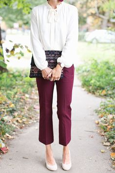 blouse, burgundy, cranberry, cropped pants, lace