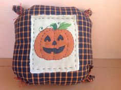 Primitive pumpkin pillow Fall decoration Jack O Lantern pillow