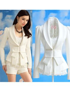 Lovely Polyester White OL Style Open Collar Long Sleeve Jackets & Coats