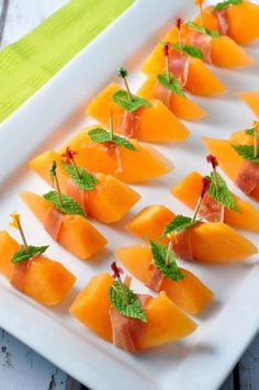 A small slice of Italian prosciutto with melon and mint makes a quick and easy appetizer